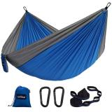 Sunyear Double Hammock Camping Lightweight Portable Nylon Hammock with 2 Tree Straps (32 Loops,10 ft) & 2D-Shape Steel Carabiners-Easy to Assemble – Perfect for Camping Backpacking Hiking Travel Beach Yard