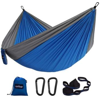 Sunyear Hammock Camping Lightweight Portable Nylon Hammock with 2 Tree Straps (32 Loops,10 ft) & 2D-Shape Steel Carabiners-Easy to Assemble – Perfect for Camping Backpacking Hiking Travel Beach Yard ( 78 inch x 118 inch )