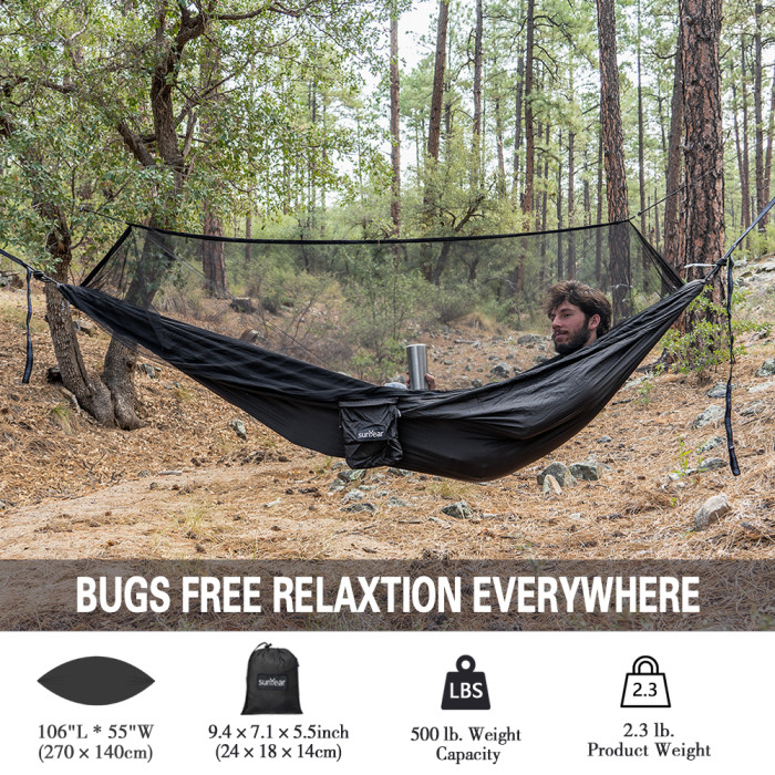 Sunyear Hammock Camping with Net/Netting Mosquito & 2 Tree Straps (16+1 Loops Each,20Ft Total), Portable Nylon Parachute Hammocks for Outdoor Indoor Backpacking Survival & Travel ( 55 inch x 106 inch )
