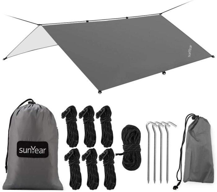 Sunyear Hammock Rain Fly Tent Tarp Provides Effective Protection Against Rain, Snow. Big 9.8x9.5ft Durable, Waterproof 210D Oxford. 13ft Long Ridgeline, 6 Guy Lines, 2 Stuff Sacks. Easy Assembly