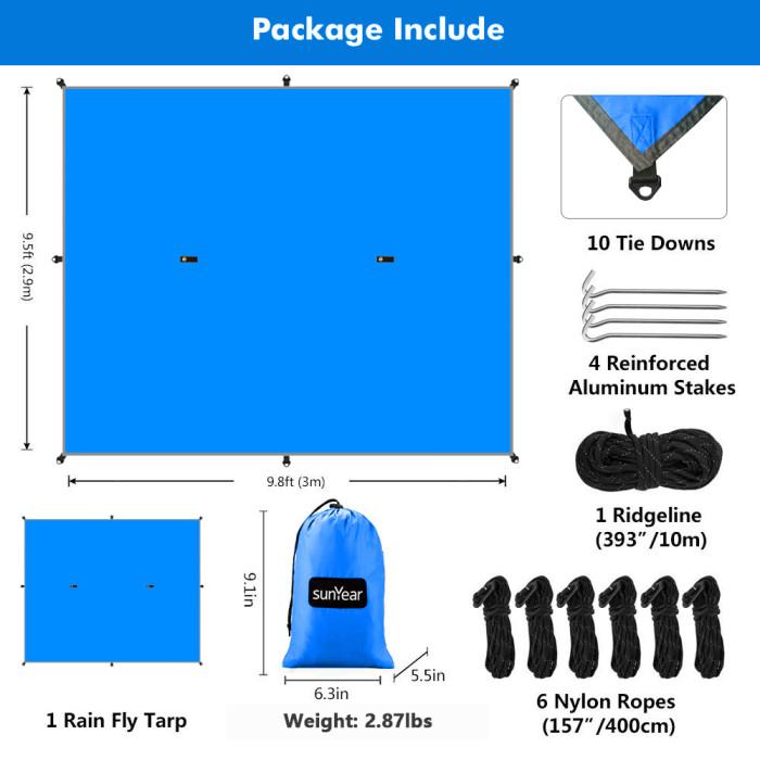 Copy Sunyear Hammock Rain Fly Tent Tarp Provides Effective Protection Against Rain, Snow. Big 9.8x9.5ft Durable, Waterproof 210D Oxford. 13ft Long Ridgeline, 6 Guy Lines, 2 Stuff Sacks. Easy Assembly