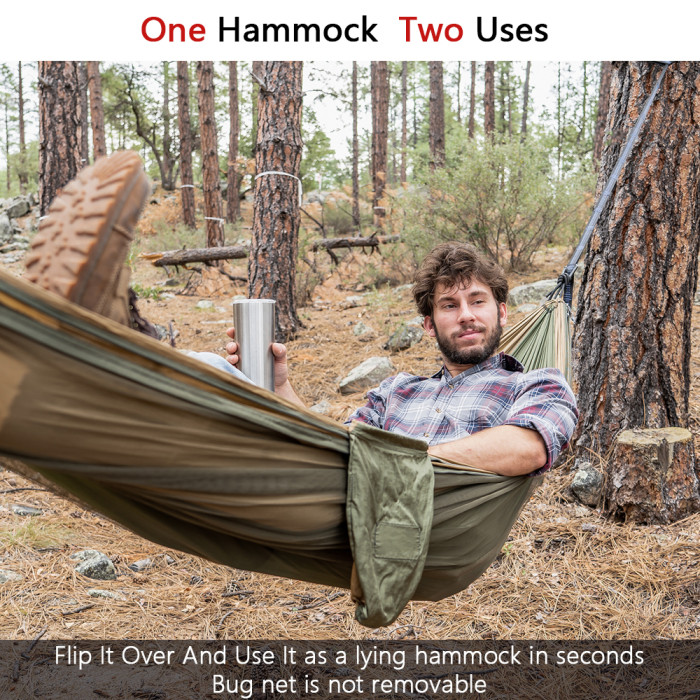 Sunyear Hammock Camping with Net/Netting Mosquito & 2 Tree Straps (16+1 Loops Each,20Ft Total), Portable Nylon Parachute Hammocks for Outdoor Indoor Backpacking Survival & Travel ( 78 inch x 118 inch )