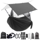 Sunyear Camping Hammock with Rain Fly Tent | Easy Assembly, Waterproof Camping Hammock with Net and Protective Cover | Comprehensive Camping Kit| Sturdy, UV Resistant Hammock and Tent