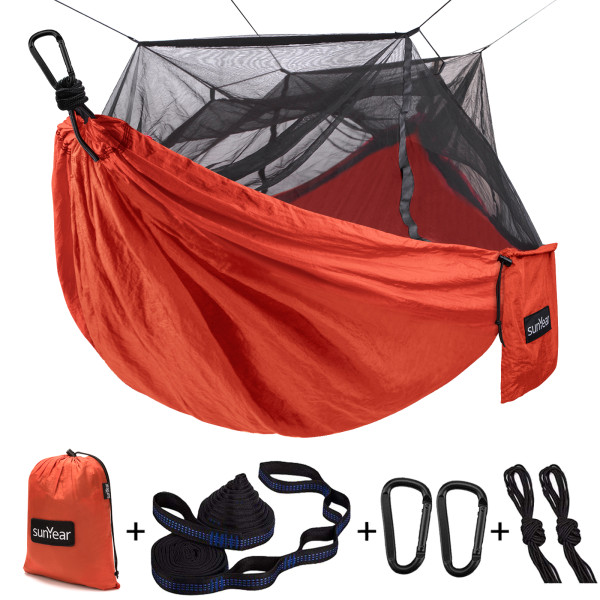Sunyear Camping Hammock with Mosquito/Bug Net, 10ft Hammock Tree Straps & Carabiners | Easy Assembly | Portable Parachute Nylon Hammock for Camping, Backpacking, Survival, Travel & More ( 59 inch x 106 inch )