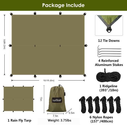 Sunyear Hammock Rain Fly Tent Tarp Provides Effective Protection Against Rain, Snow. Big 9.8x13.1ft Durable, Waterproof 210D Oxford. 13ft Long Ridgeline, 6 Guy Lines, 2 Stuff Sacks. Easy Assembly