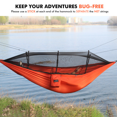 Sunyear Camping Hammock with Mosquito/Bug Net, 10ft Hammock Tree Straps & Carabiners   Easy Assembly   Portable Parachute Nylon Hammock for Camping, Backpacking, Survival, Travel & More ( 59 inch x 106 inch )