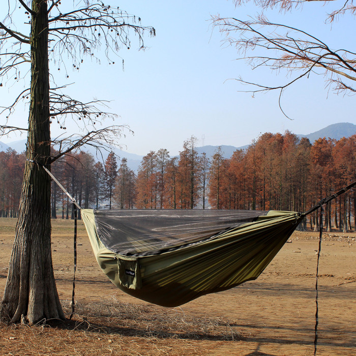 Sunyear Camping Hammock with Removable No See-Um Mosquito Net, Double & Single Portable Outdoor Hammocks Parachute Lightweight Nylon with Tree Straps for Adventures Hiking Backpacking ( 9.5 feet × 5 feet )