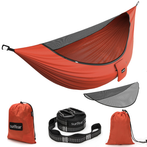 Sunyear Camping Hammock with Removable No See-Um Mosquito Net, Double & Single Portable Outdoor Hammocks Parachute Lightweight Nylon with Tree Straps for Adventures Hiking Backpacking ( 9.5feet × 5 feet )