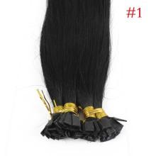 1g/s 100g Human Virgin Hair #1 black Pre-bonded Keratin Flat Hair Extensions