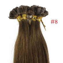 1g/s 100g Human Virgin Hair #8 brown Pre-bonded Keratin Flat Hair Extensions