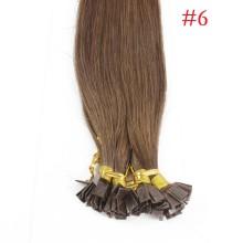 1g/s 100g Human Virgin Hair #6 brown Pre-bonded Keratin Flat Hair Extensions