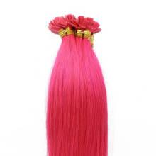 1g/s 100g Human Virgin Hair Pink Pre-bonded Keratin Flat Hair Extensions
