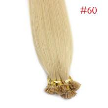 1g/s 100g Human Virgin Hair #60 Platinum Blonde Pre-bonded Keratin Flat Hair Extensions