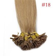 1g/s 100g Human Virgin Hair #18 Ash Brown Pre-bonded Keratin Flat Hair Extensions