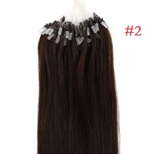 Easy Loop #2 Dark Brown Remy Human Hair Extensions 100g Micro Loop Ring Hair