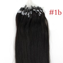 100g #1b Natural Black Micro Bead Loop Ring Remy Human Hair Extensions