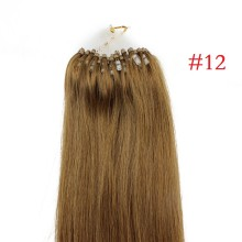 Easy Loop #12 Golden Brown Remy Human Hair Extensions 100g Micro Loop Ring Hair