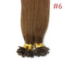 100% Human Hair Capsules #6 Brown Nail Tip Hair Silky Straight Keratin Fusion U Tip Hair Extensions 100s/lot