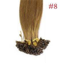 100% Human Hair Capsules #8 Brown Nail Tip Hair Silky Straight Keratin Fusion U Tip Hair Extensions 100s/lot