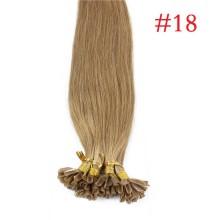 100% Human Hair Capsules #18 Ash Blonde Nail Tip Hair Silky Straight Keratin Fusion U Tip Hair Extensions 100s/lot