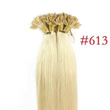 100% Human Hair Capsules #613 Blonde Nail Tip Hair Silky Straight Keratin Fusion U Tip Hair Extensions 100s/lot