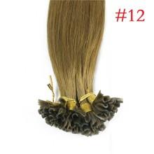 100% Human Hair Capsules #12 Golden Brown Nail Tip Hair Silky Straight Keratin Fusion U Tip Hair Extensions 100s/lot