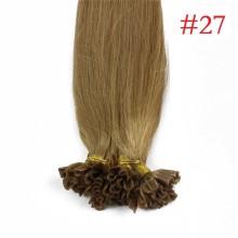 100% Human Hair Capsules #27 Honey Blonde Nail Tip Hair Silky Straight Keratin Fusion U Tip Hair Extensions 100s/lot