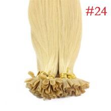 100% Human Hair Capsules #24 Blonde Nail Tip Hair Silky Straight Keratin Fusion U Tip Hair Extensions 100s/lot
