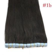 40pcs 100g PU Tape #1b Black Brazilian Human Virgin Remy Hair Extensions