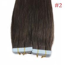 40pcs 100g PU Tape #2 Dark Brown Brazilian Human Virgin Remy Hair Extensions