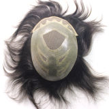 Men's Replacement Wig Toupee Natural Indian Virgin Remy Hair