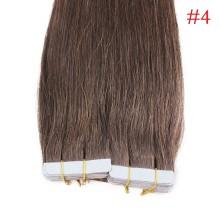 40pcs 100g PU Tape #4 Dark Brown Brazilian Human Virgin Remy Hair Extensions