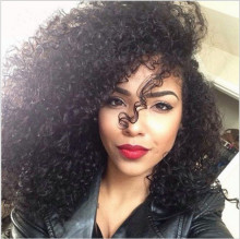 Natural Color Curly Lace Front Wig Brazilian Virgin Human Hair