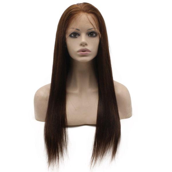 #4 Chocolate Brown Brazilian Human Hair Lace Wigs Straight
