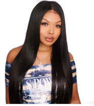 Natural Black Silky Straight Brazilian Virgin Hair Full Lace Wigs