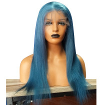 Light Blue Human Hair Lace Front Wig or Lace Full Wig