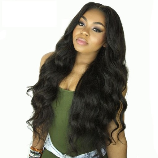 Natural Black Indian Remy Hair Lace Front Wigs Body Wavy