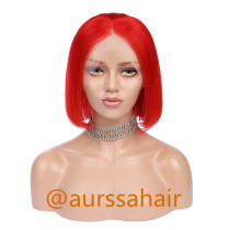 Luxury Custom Red Lace Front Wig Human Remy Hair Superior Quality