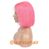 Luxury Custom Pink Lace Front Wig Human Remy Hair Superior Quality