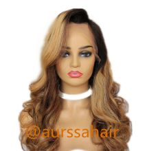 Luxury Custom Ombre Mix Brown Human Remy Hair Lace Front Wig