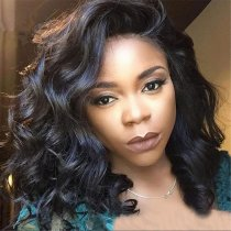 Wavy Bob Wigs Natural Color Brazilian Virgin Hair Lace Wigs Luxury Deep Parting