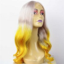 Luxury Custom Ombre Gray Yellow Superior Human Remy Hair Lace Front Wig