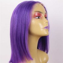 Luxury Custom Violet Purple 100% Superior Human Remy Hair Lace Front Wigs
