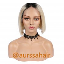 Luxury Custom Ombre Light Blonde Black Lace Front Wig Human Remy Hair Superior Quality