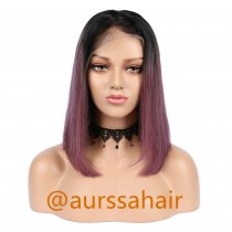 Luxury Custom Black Wine Red Two Tone Ombre Lace Front Wig Human Remy Hair Superior Quality