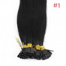 1g/s 100g Human Virgin Hair #1 black Pre-bonded Keratin Flat Hair Extensions