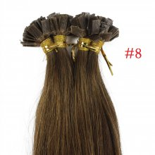 1g/s 100g Human Virgin Hair #8 brown Pre-bonded Keratin Flat Hair Extensions