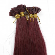 1g/s 100g Human Virgin Hair burgundy Pre-bonded Keratin Flat Hair Extensions