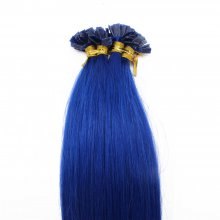 1g/s 100g Human Virgin Hair Blue Pre-bonded Keratin Flat Hair Extensions