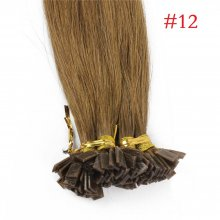1g/s 100g Human Virgin Hair #12 Golden brown Pre-bonded Keratin Flat Hair Extensions